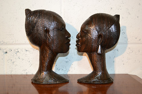 Carved pair of African objet d'art