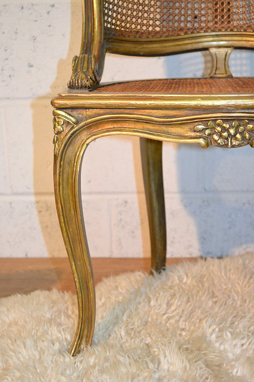 French gilt bergere chair