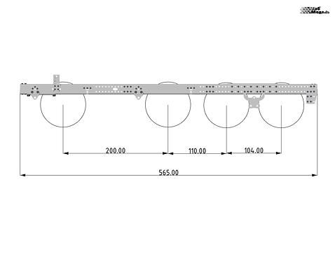 Длинная рама для тяжелого (балластного) тягача. Длина 565мм