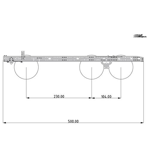 Средняя рама для тягача с колесной формулой 6x2 / 6x4. Длина 500мм