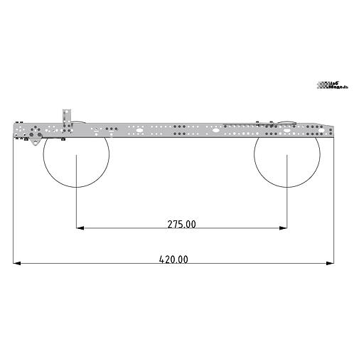 Классическая рама для тягача с колесной формулой 4x2 / 4x4. Длина 420мм