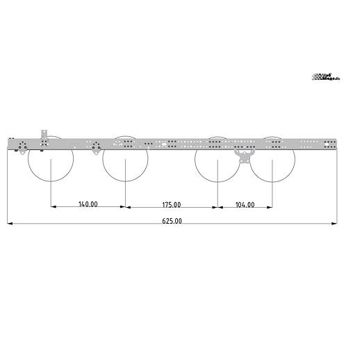 Экстрадлинная рама, для колесной формулы 8х8 или 8х4. Длина 625мм