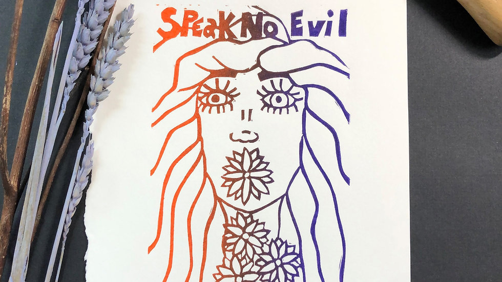 Speak No Evil - Relief Print