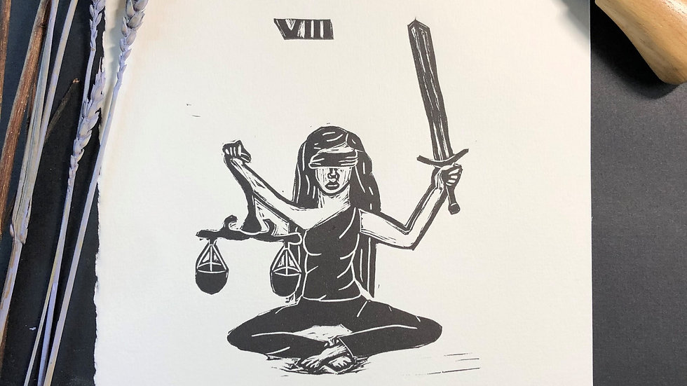 Justice Tarot Relief Print