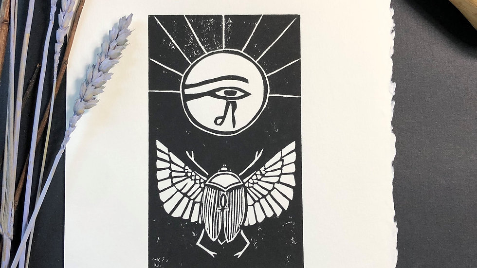 Good Luck - Scarab Relief Print