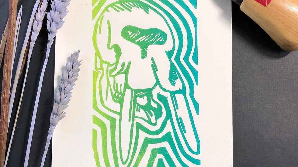 Elephant Skull Relief Print