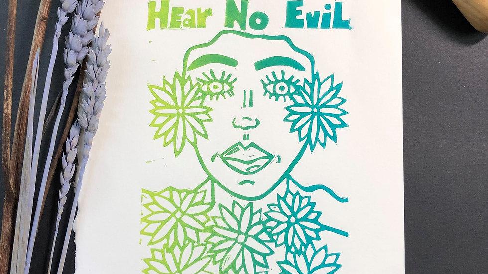 Hear No Evil Relief Print