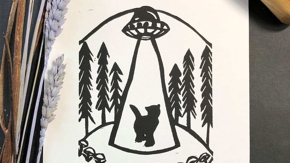 Spaceship with Black Cat Relief Print