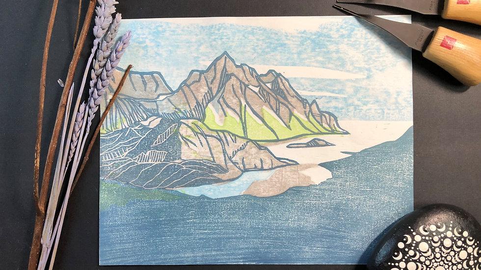 Mountains Moku Hanga Print