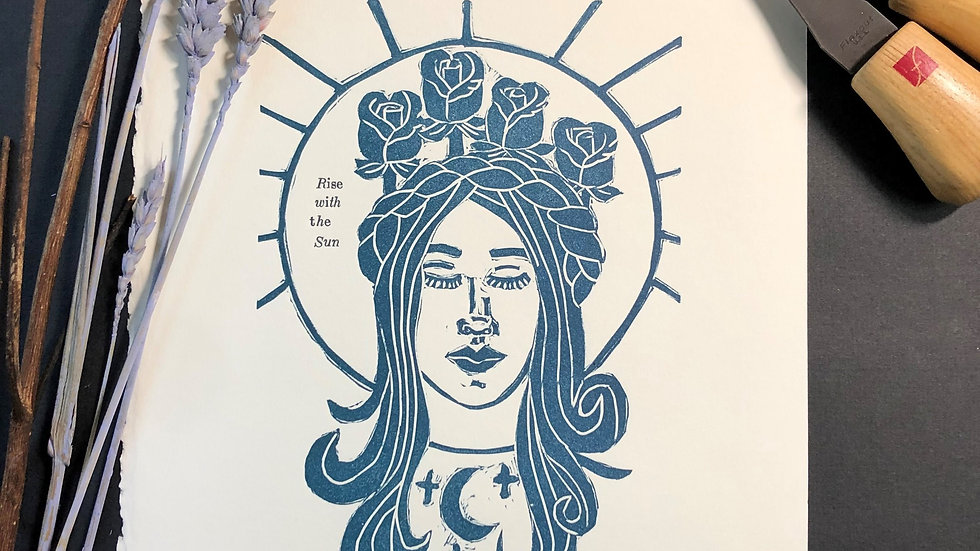 Rise with the sun Relief Print
