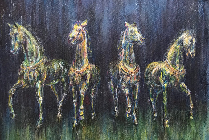 Land Quartet - watercolour