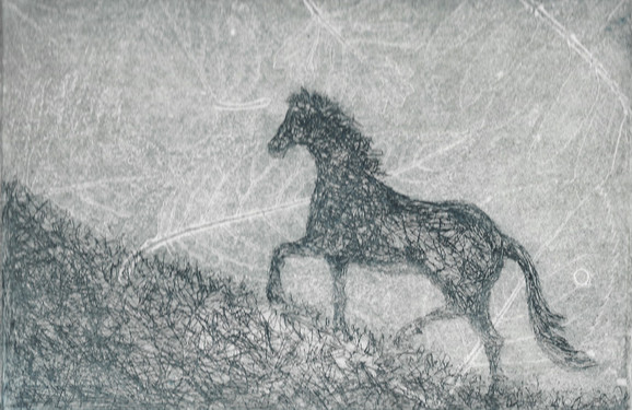 Running Up That Hill - aquatint