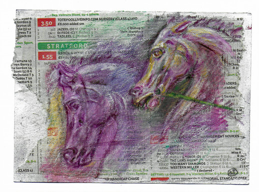 Horses  - watercolour crayon