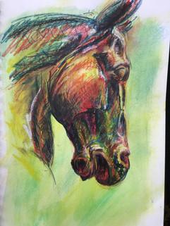 The Right Profile  - watercolour crayon