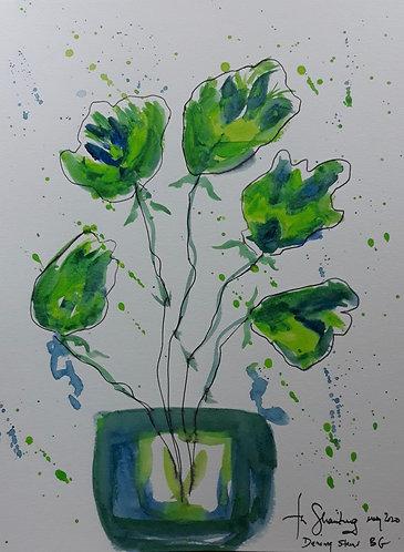 Dancing Stems Blue Green
