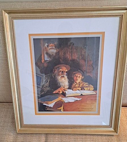 The Talmud Lesson. Mayer Morcos. Litho. Double mat frame.