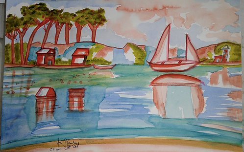 Famous cove in Ct. that is colorfully depicted.