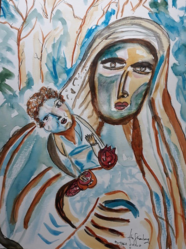 Mother,  Child & Pomegranates.After Reuven Rubin.
