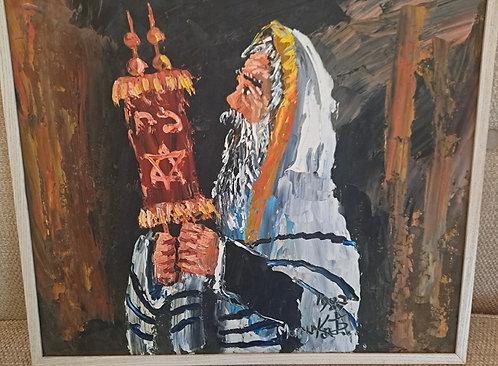 Rabbi Holding Torah. Morris Katz. Acrylic
