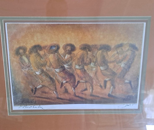 Hasidim Dancing. Signed lithograph. Sevi Refaeli