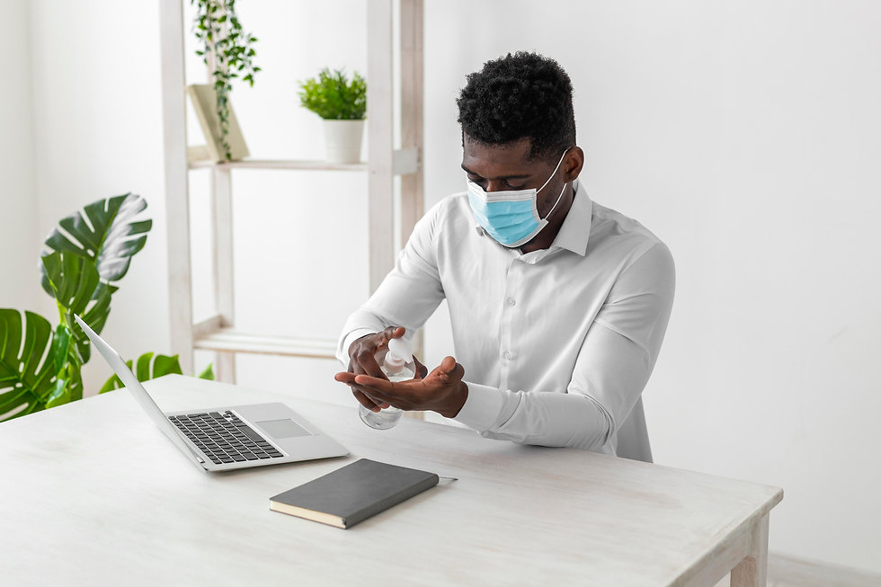 african-american-man-wearing-mask-cleani