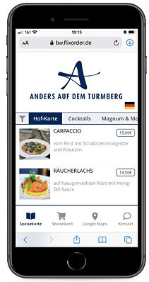 Flixorder Smartphone Bestell-App mit digitaler Speisekarte und Kellnerruf