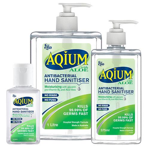 Aqium Antibacterial Hand Sanitiser 60ml, 375ml & 1Ltr
