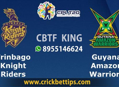Trinbago Knight Riders vs Guyana Amazon Worriors - CPL20 Today Match Prediction