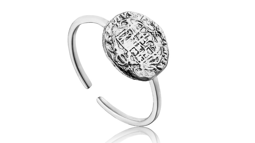 Silver Emblem Adjustable Ring - Ania Haie