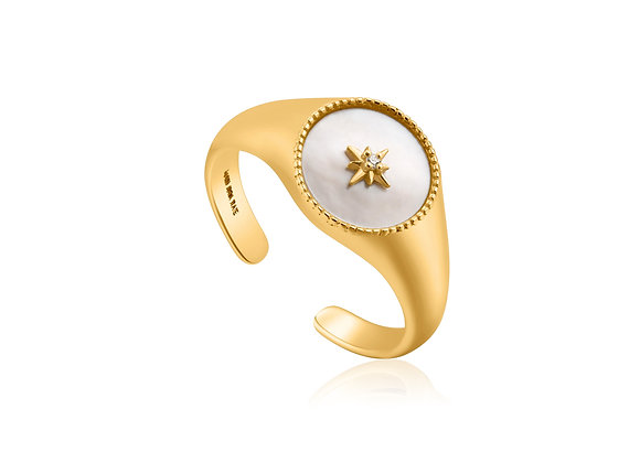 Gold Mother Of Pearl Emblem Signet Ring - Ania Haie