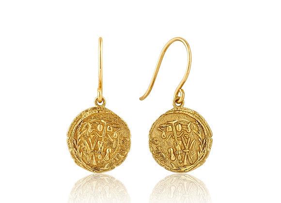 Gold Emblem Hook Earrings - Ania Haie