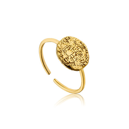 Gold Emblem Adjustable Ring - Ania Haie