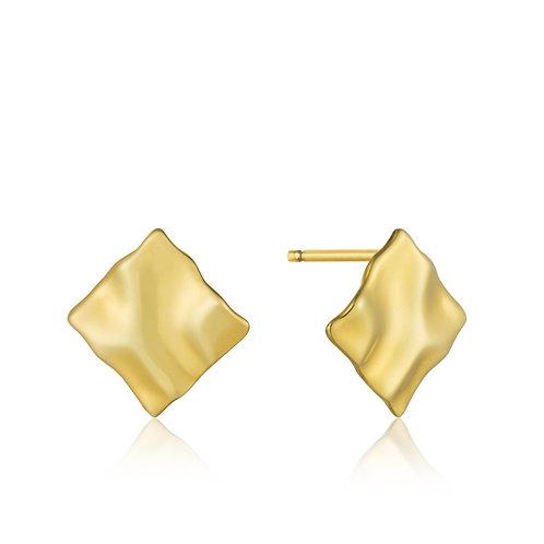 Gold Crush Mini Square Stud Earrings - Ania Haie