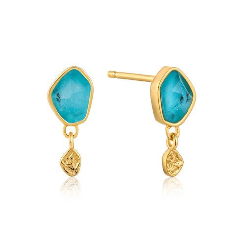 Turquoise Drop Gold Stud Earrings - Ania Haie