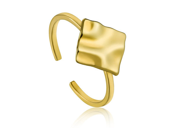 Gold Crush Square Adjustable Ring - Ania Haie