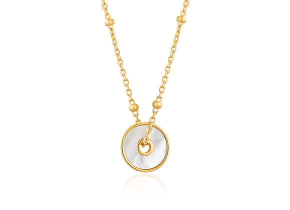 Gold Mother Of Pearl Disc Necklace - Ania Haie