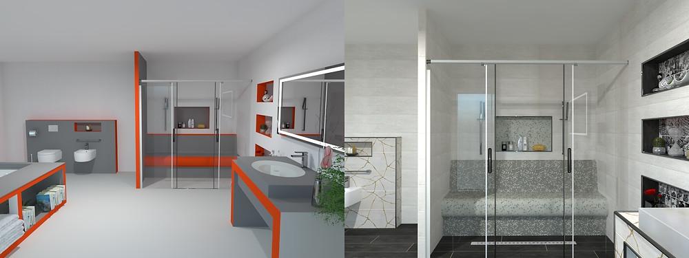Primer kopalnice z gradbeno ploščo