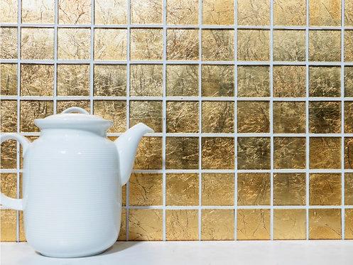 Mozaik CM4GO20 Quadrat Crystal uni gold Struktur