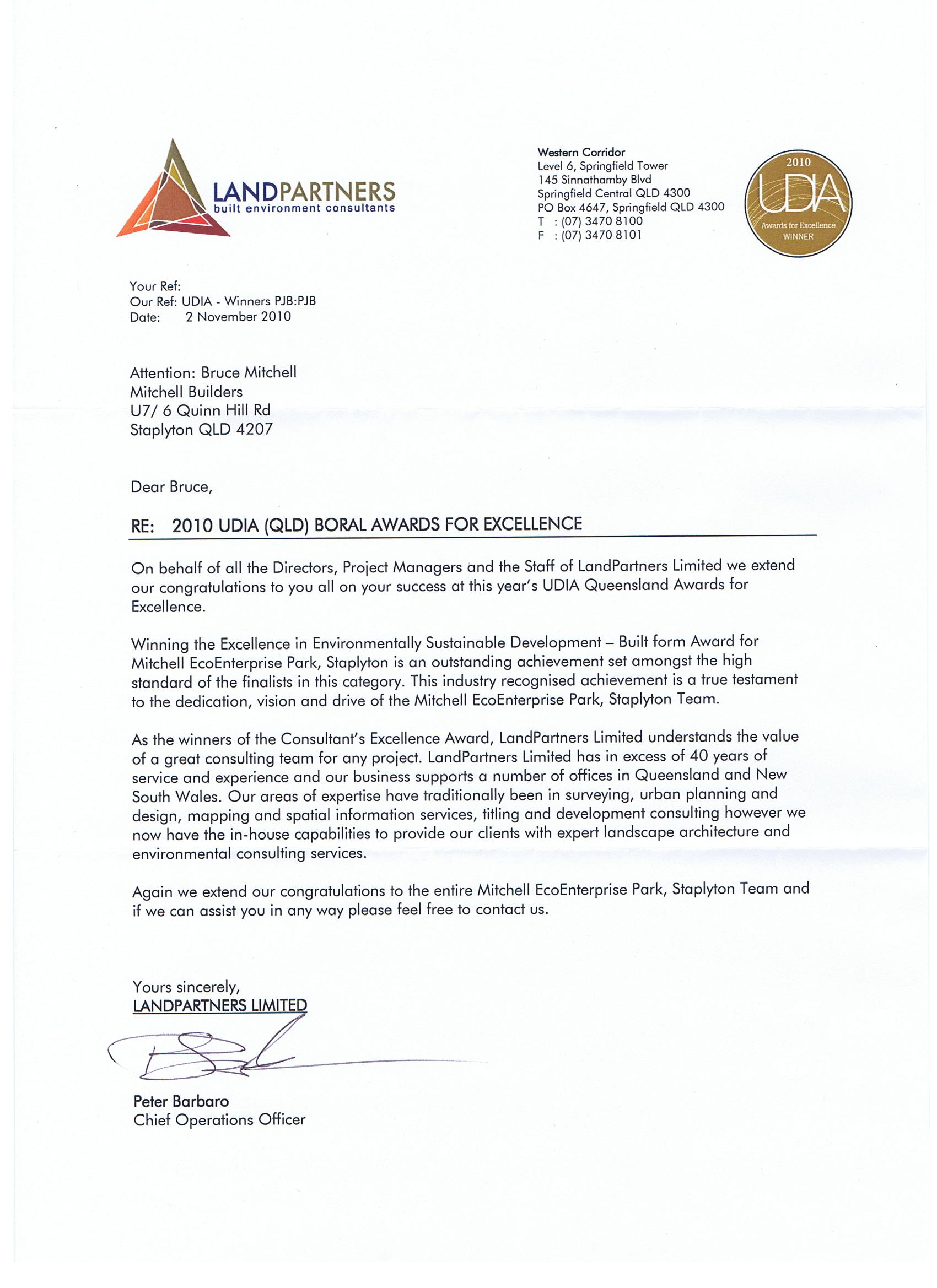 Land Partners congratulatory letter 001