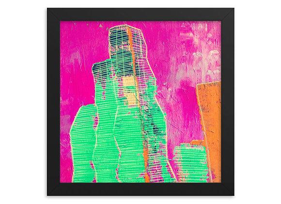 Square Pink Vista Tower Art Framed Poster Print
