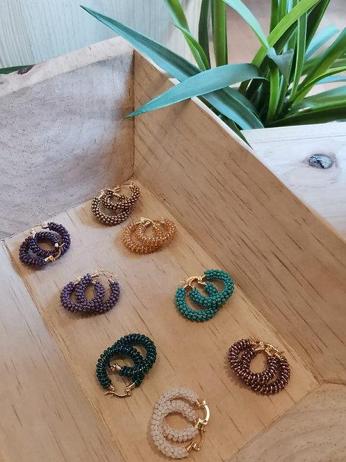6 Beaded hoop earrings