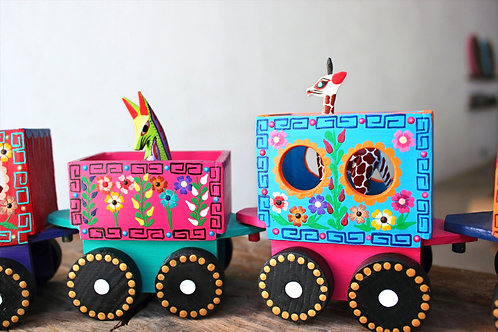 6 hand painted trains
