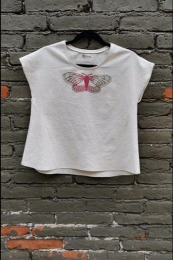 6 Moth light canvas blouse