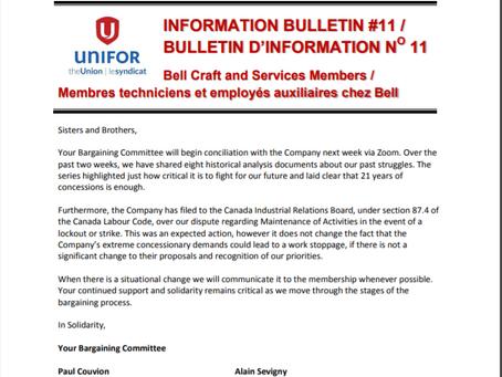 BELL CRAFT BARGAINING BULLETIN #11