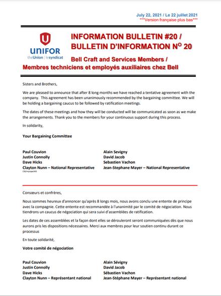 Bell Bulletin #20 Tentative Agreement
