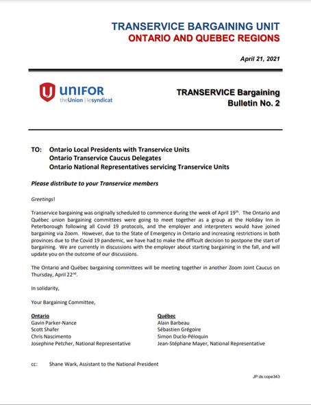 TRANSERVICE BARGAINING BULLETIN #2