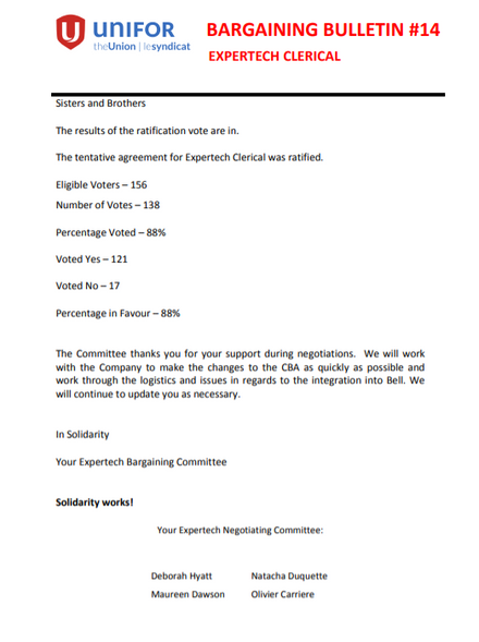 EXPERTECH CLERICAL BARGAINING BULLETIN #14 - RATIFICATION RESULTS