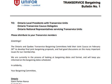 TRANSERVICE BARGAINING BULLETIN #1