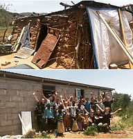 Gap year team before and after they'd rebuilt family home