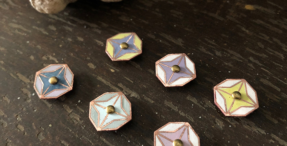 Star-shaped Enamel Earrings